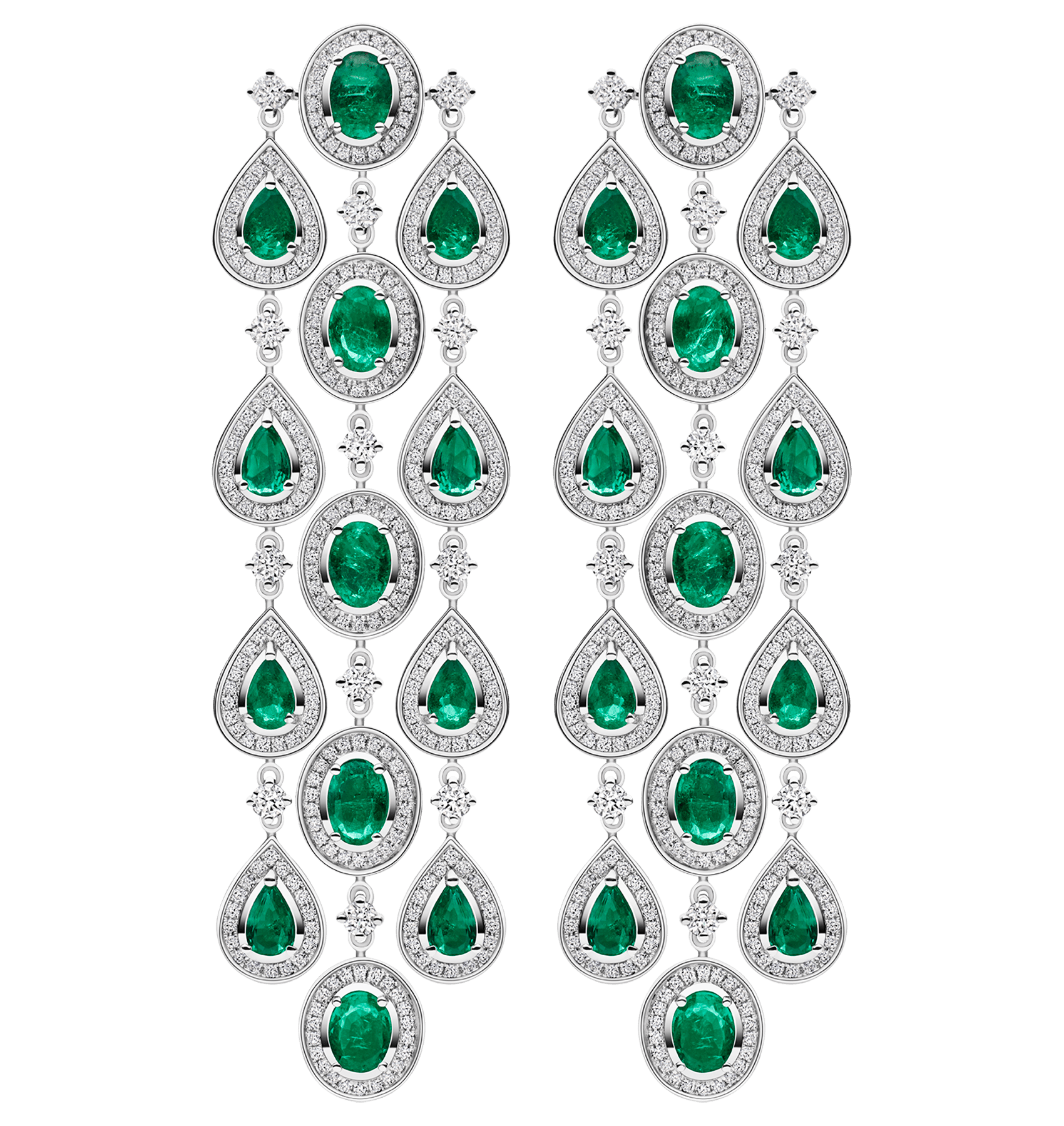 Photo of White Gold Diamond and Emerald Chandelier Earrings