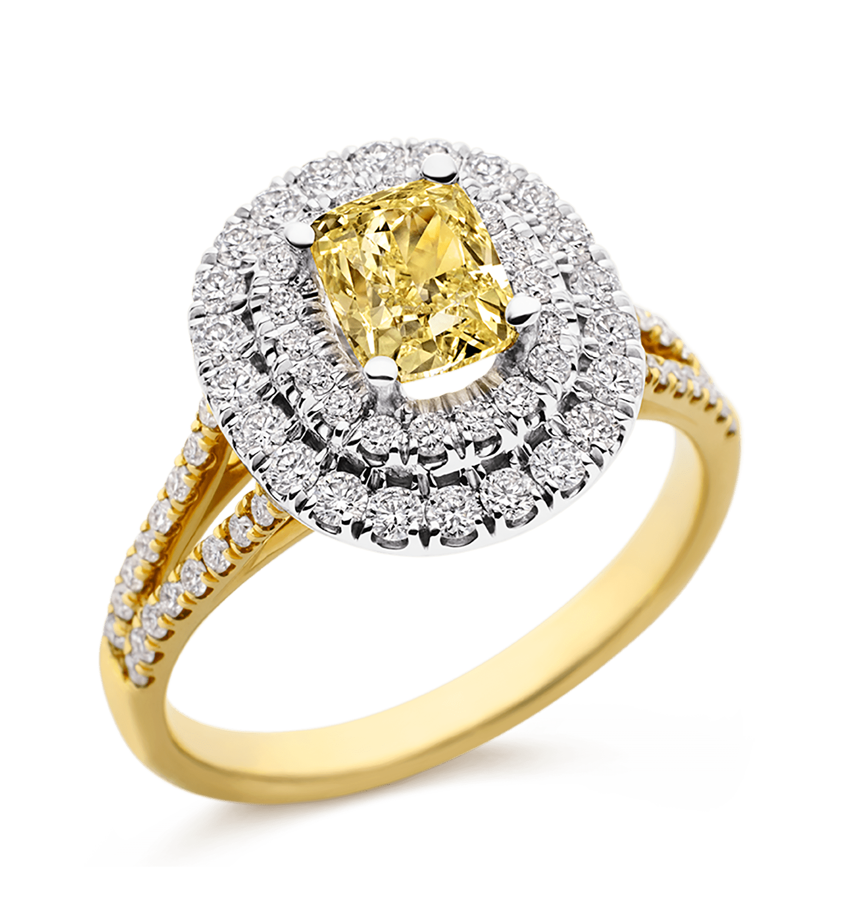 Photo of Yellow and White Diamond Ring