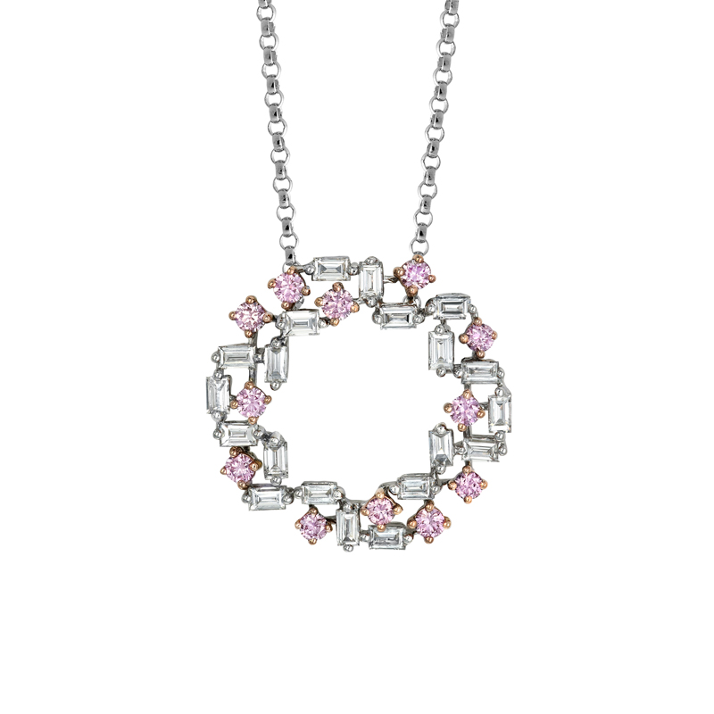 Photo of Pink and White Diamond Necklace